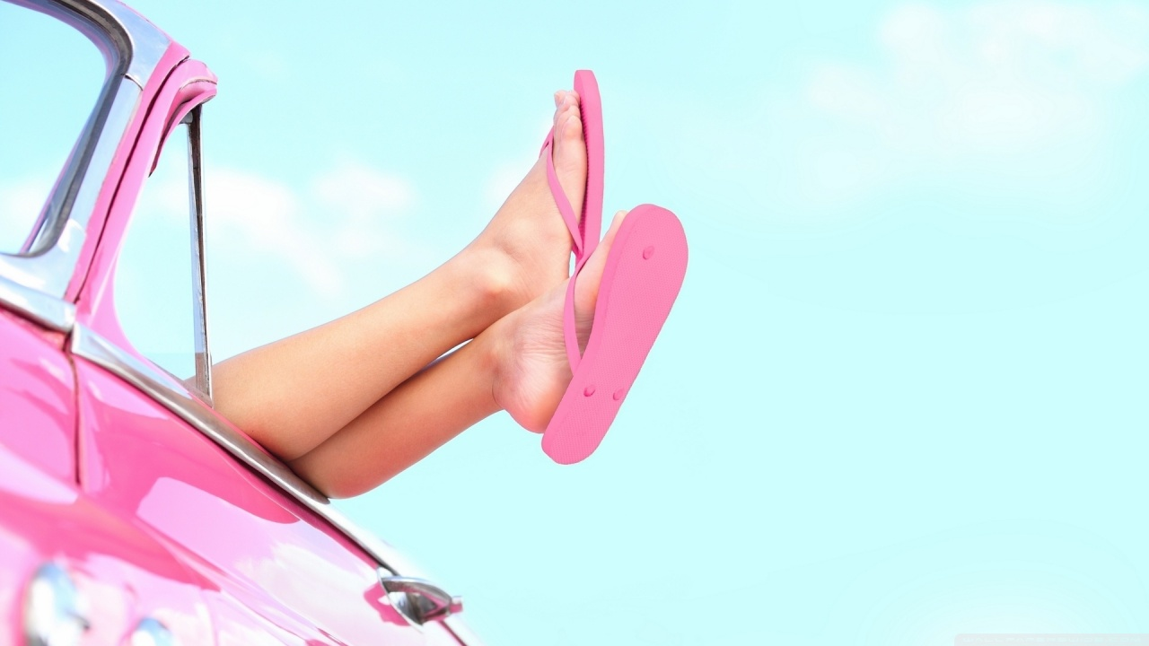 woman in pink flip flops