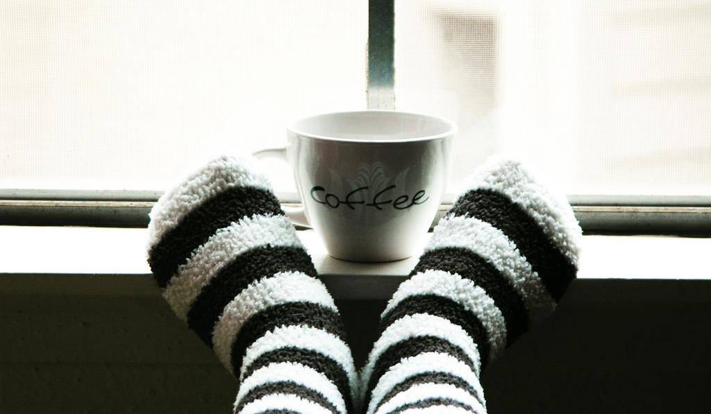 fuzzy socks with coffee cup