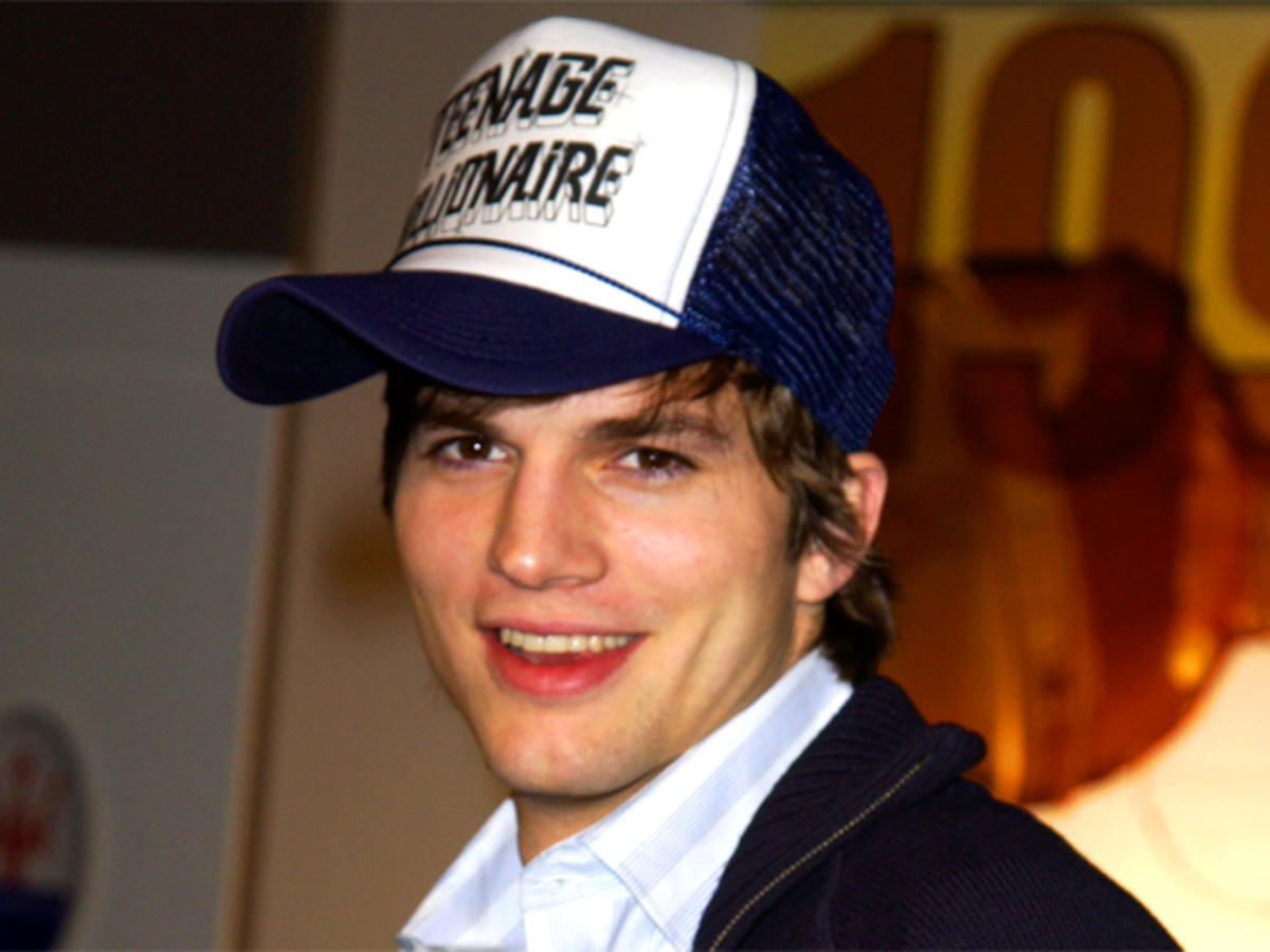 ashton kutcher wearing a trucker hat