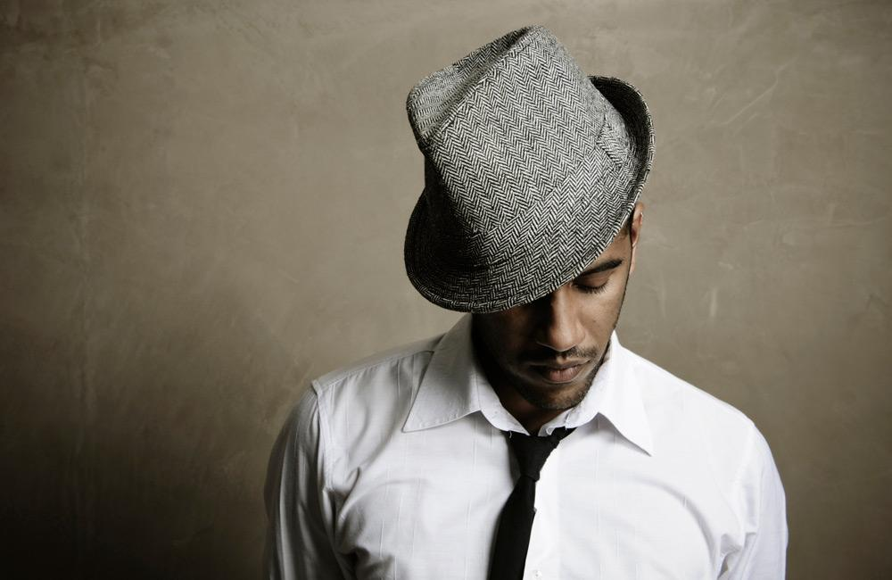man wearing a fedora with pattern