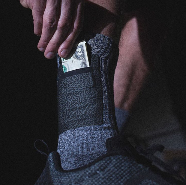 stashing money in a pocket sock