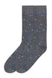 120 Units of Men's Bamboo Nylon Spandex Crew Dress Socks Blue Dots - Mens Dress Sock