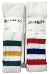 12 Units of Yacht & Smith Men's Cotton Tube Socks, Referee Style, Size 10-13 White With Stripes - Mens Tube Sock