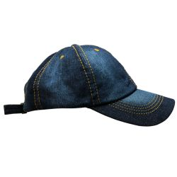 Yacht & Smith 100% Cotton Denim Baseball Cap With Gold Stitching. - Baseball Caps & Snap Backs