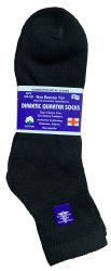48 Units of Yacht & Smith Men's King Size Loose Fit Non-Binding Cotton Diabetic Ankle Socks Black Size 13-16 - Big And Tall Mens Diabetic Socks
