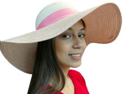 Yacht & Smith Floppy Stylish Sun Hats Bow and Leather Design, Style C - Rose - Sun Hats
