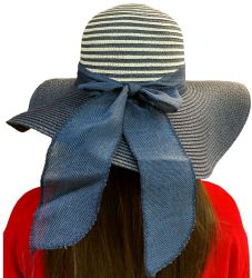 Yacht & Smith Floppy Stylish Sun Hats Bow and Leather Design, Style C - Navy - Sun Hats