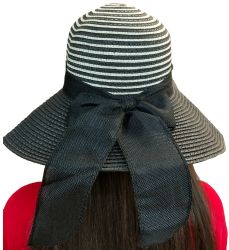Yacht & Smith Floppy Stylish Sun Hats Bow And Leather Design, Style C - Black - Sun Hats