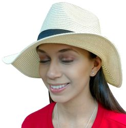 Yacht & Smith Floppy Stylish Sun Hats Bow And Leather Design, Style B - White - Sun Hats