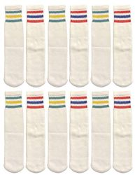 24 Units of Yacht & Smith Kids Cotton Usa Tube Socks, Referee Style Size 6-8 - Boys Crew Sock