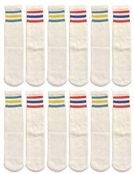 48 Units of Yacht & Smith Kids Cotton Usa Tube Socks, Referee Style Size 6-8 - Boys Crew Sock