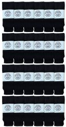 24 Units of Yacht & Smith Women's Cotton Tube Socks, Referee Style, Size 9-15 Solid Black 22inch - Women's Tube Sock
