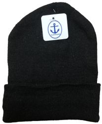 6 Units of Yacht & Smith Unisex Winter Warm Beanie Hats In Solid Black - Winter Beanie Hats