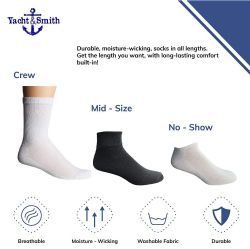 12 Units of Yacht & Smith Men's King Size Cotton Crew Socks Black Size 13-16 - Big And Tall Mens Crew Socks