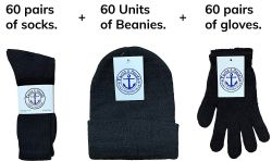 180 Units of Yacht & Smith Bundle Care Combo Pack, Wholesale Hats Glove, Socks (180, Mens) - Winter Care Sets