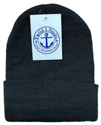 144 Units of Yacht & Smith Unisex Winter Warm Beanie Hats In Solid Black - Winter Beanie Hats