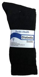 12 Units of Yacht & Smith Men's King Size Loose Fit NoN-Binding Cotton Diabetic Crew Socks Black Size 13-16 - Big And Tall Mens Diabetic Socks
