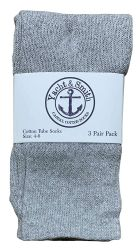 36 Units of Yacht & Smith Kids Gray Solid Tube Socks Size 4-6 - Boys Crew Sock