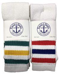 36 Units of Yacht & Smith Kids Cotton Tube Socks White With Stripes Size 4-6 - Boys Crew Sock