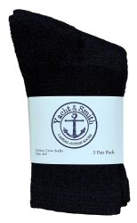 24 Units of Yacht & Smith Kids Premium Cotton Crew Socks Black Size 4-6 - Girls Crew Socks