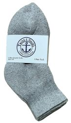 12 Units of Yacht & Smith Kids Cotton Quarter Ankle Socks In Gray Size 4-6 - Boys Ankle Sock