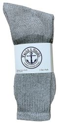 12 Units of Yacht & Smith Men's King Size Premium Cotton Crew Socks Gray Size 13-16 - Big And Tall Mens Crew Socks
