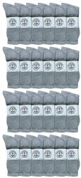 24 Units of Yacht & Smith Men's King Size Cotton Crew Socks Gray Size 13-16 - Big And Tall Mens Crew Socks