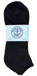 24 Units of Yacht & Smith Men's King Size No Show Ankle Socks Size 13-16 Black - Big And Tall Mens Ankle Socks