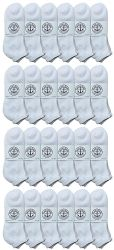 24 Units of Yacht & Smith Men's Cotton Terry Cushioned No Show Ankle Socks, Size 10-13 White - Mens Ankle Sock
