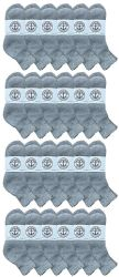 24 Units of Yacht & Smith Men's Cotton Sport Ankle Socks Size 10-13 Solid Gray - Mens Ankle Sock