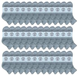 36 Units of Yacht & Smith Men's Cotton Sport Ankle Socks Size 10-13 Solid Gray - Mens Ankle Sock