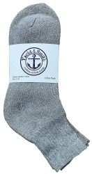 72 Units of Yacht & Smith Men's Cotton Sport Ankle Socks Size 10-13 Solid Gray - Mens Ankle Sock