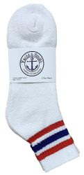 12 Units of Yacht & Smith Men's Cotton Sport Ankle Socks Size 10-13 With Stripes - Mens Ankle Sock