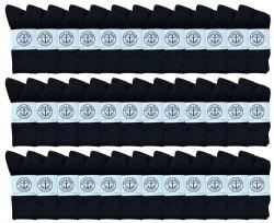 36 Units of Yacht & Smith Women's Cotton Crew Socks Black Size 9-11 - Womens Crew Sock