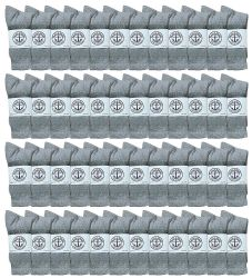 48 Units of Yacht & Smith Women's Cotton Crew Socks Gray Size 9-11 - Womens Crew Sock