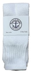 72 Units of Yacht & Smith Women's Cotton Tube Socks, Referee Style, Size 9-15 Solid White - Women's Tube Sock