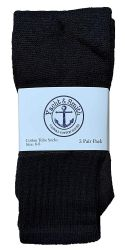 36 Units of Yacht & Smith Kids Solid Tube Socks Size 6-8 Black - Boys Crew Sock
