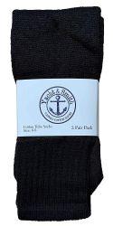 24 Units of Yacht & Smith Kids Solid Tube Socks Size 6-8 Black - Boys Crew Sock