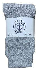 36 Units of Yacht & Smith Kids Solid Tube Socks Size 6-8 Gray - Boys Crew Sock