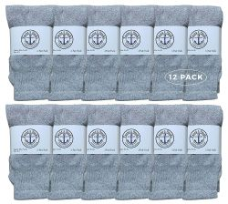 12 Units of Yacht & Smith Kids Solid Tube Socks Size 6-8 Gray - Boys Crew Sock