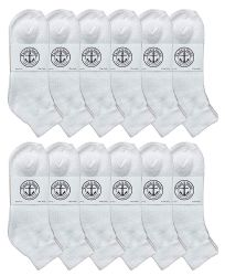 12 Units of Yacht & Smith Kids Cotton Quarter Ankle Socks In White Size 6-8 - Boys Ankle Sock