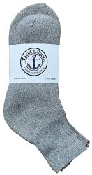 72 Units of Yacht & Smith Kids Cotton Quarter Ankle Socks In Gray Size 6-8 - Boys Ankle Sock