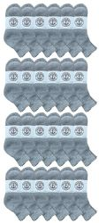 24 Units of Yacht & Smith Kids Cotton Quarter Ankle Socks In Gray Size 6-8 - Boys Ankle Sock