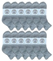 12 Units of Yacht & Smith Kids Cotton Quarter Ankle Socks In Gray Size 6-8 - Boys Ankle Sock