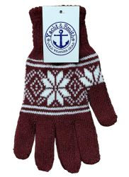 12 Units of Yacht & Smith Mens Warm And Stretchy Snow Flake Print Winter Gloves - Knitted Stretch Gloves
