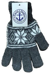 12 Units of Yacht & Smith Snowflake Print Womens Winter Gloves With Stretch Cuff - Knitted Stretch Gloves