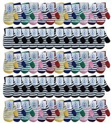 120 Units of Yacht & Smith Kids Striped Mitten With Stretch Cuff Ages 2-8 - Kids Winter Gloves