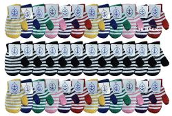 36 Units of Yacht & Smith Kids Striped Mitten With Stretch Cuff Ages 2-8 - Kids Winter Gloves
