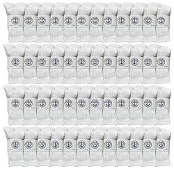 48 Units of Yacht & Smith Kids Cotton Crew Socks White Size 4-6 - Girls Crew Socks