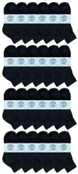 24 Units of Yacht & Smith Kids Cotton Quarter Ankle Socks In Black Size 6-8 - Boys Ankle Sock